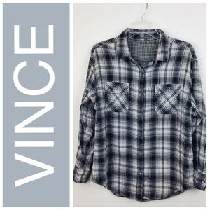 VINCE Plaid Button Down Shirt Small (780)